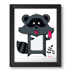 """Warnick Art - Raccoon Print - This 'lil guy loves the summer almost as much as he loves popsicles. This limited edition, 5 color screen print is 14""""x18"""" and printed on Coventry Rag 290 gsm 100% cotton archival paper. All prints come signed and numbered with a limited edition of 55. Prints are unframed. Thank you for looking!"""