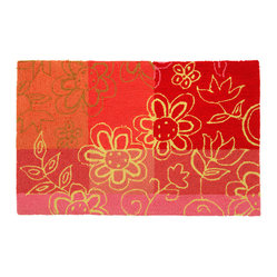 "Homefires - Fargo Red Rug - Even if you lack a ""green thumb,"" you can cultivate a field full of flowers. Joyful blooms are set on a backdrop of red and pink patterns, creating exuberance in your living space. No unnecessary pruning is needed."