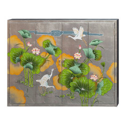 "China Furniture and Arts - Silver Crackle Wall TV Cabinet - Designed to house your TV on the wall, the lavish hand painted imagery on a silver background adds visual appeal to this functional piece. Double-hinged doors fold to the sides for unobstructed viewing. Mounting wares included. Interior measures approximately 46""W x 4.5""D x 34""H."