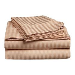 300 Thread Count Egyptian Cotton Twin Beige Stripe Sheet Set - 300 Thread Count Egyptian Cotton Twin Beige Stripe Sheet Set
