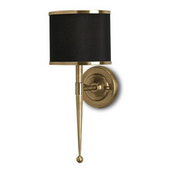 Currey and Company - Currey and Company 5021 Primo Transitional Wall Sconce - Inspired by mid-twentieth century stylistic design, Primo boasts primly executed detailing in antique brass. A trim of brass rings the accompanying black shades. There is a matching chandelier. Hard Wire Only.