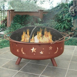 """Landmann - Super Sky Fire Pit - Large and unique, the Super Sky fire pit has the capability to burn a large amount of firewood for super fires. The stylish star and moon cutouts create an incredible ambience at night. This fire pit is constructed out of sturdy steel designed for your convenience in easy assembly. This outdoor fire pit is a great product as it is sure to make a great impression. Features: -Please Note: Item should be placed on a brick, stone or concrete surface to prevent fire hazards.-Distressed: No.-Finish: Georgia Clay.-Gloss Finish: No.-Material: Steel.-Hardware Material: Steel.-Tabletop Fireplace: No.-Fuel Type: Wood.-Plug In: No.-Fire Bowl Filler Included: No.-Folding: No.-Heat Resistant Coating: Yes.-UV Protected: No.-Rust Resistant: No.-Fade Resistant: No.-Suitable For Use On Wooden Surface: No.-Log Grate Included: No.-Spark Screen Included: Yes -Spark Screen Material: Steel..-Snuffer Included: No.-Fire Poker Included: Yes.-Safety Ring: Yes.-Built in Cooking Area: No.-Handles: Yes.-Portable: No.-Cover Included: No.-Swatch Available: No.-Commercial Use: No.-Recycled Content: No.-Eco-Friendly: No.Specifications: -Offers 360 degree viewing of the fire.Dimensions: -Overall Product Weight: 49 lbs.-Overall Height - Top to Bottom: 23"""".-Overall Width - Side to Side: 43"""".-Overall Depth - Front to Back: 43"""".-Fire Bowl Height: 8.5"""".-Fire Bowl Width: 36.5"""".-Fire Bowl Depth: 36.5"""".-Spark Screen: -Spark Screen Height - Top to Bottom: 8"""".-Spark Screen Width - Side to Side: 35"""".-Spark Screen Depth - Front to Back: 35""""..-Safety Ring Diameter: 0.5"""".-Distance Between Safety Ring And Fire Bowl: 2.75"""".Assembly: -Assembly Required: Yes.-Tools Needed: Phillips screwdriver and adjustable wrench.-Additional Parts Required: No.Warranty: -Product Warranty: 90 Days."""
