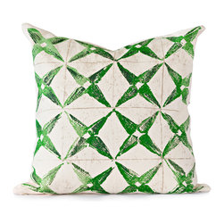 BY MERCATO - Green Star Throw Pillow - Our green stylized star pillow design uses bright and deep shades of green to create depth in the pattern.  The pillow is then accented with a light tan grid and a spattering of the same color.