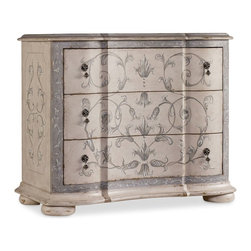 """Hooker Furniture - Hooker Furniture Three-Drawer Handpainted Chest - The Handpainted Chest features three drawers with a beautiful scroll work handpainted Decor. Three drawers. Poplar and Hardwood Solids. Dimensions: 41.25""""W x 20.75""""D x 34""""H."""