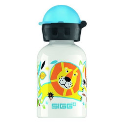 Sigg Water Bottle - Jungle Family - .3 Liters - Why should adults have all the fun? With the SIGG Little Kids Bottle Collection, you can keep the kids hydrated and happy. There's a convenient size for every hydration need. Ideal for packing into your child's lunch box, this 0.3-liter SIGG Aluminum Water Bottle with kids bottle cap has a highly resistant lining, making it almost unbreakable! SIGG's EcoCare liner is made from BPA-free and phthalate-free ingredients.