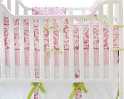 """New Arrivals Inc. - Bloom in Pink Baby Crib Bedding Set 2-Piece - The Bloom in Pink baby bedding by New Arrivals Inc. creates a chic and sophisticated look using damask print and pink and green colors. Bloom in Pink's bumper is made of Bloomin Damask in Pink fabric with Green Tea Solid cording and green grosgrain ties. All bumpers are slip covered for easy cleaning. The sheet is of Bojangle in Pink fabric, and the 17"""" tailored skirt is made from Birdseye Pique fabric with Bloomin Damask in Pink panels, Green Tea Solid band and Scalloped Green Solid Ribbon bows."""