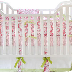 "New Arrivals Inc. - Bloom in Pink Baby Crib Bedding Set - The Bloom in Pink baby bedding by New Arrivals Inc. creates a chic and sophisticated look using damask print and pink and green colors.  Bloom in Pink's bumper is made of Bloomin Damask in Pink fabric with Green Tea Solid cording and green grosgrain ties. All bumpers are slip covered for easy cleaning.  The sheet is of Bojangle in Pink fabric, and the 17"" tailored skirt is made from Birdseye Pique fabric with Bloomin Damask in Pink panels, Green Tea Solid band and  Scalloped Green Solid Ribbon bows."