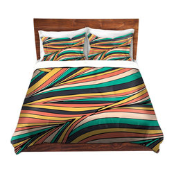 DiaNoche Designs - Duvet Cover Microfiber by Pom Graphic Design - Retro Movement - DiaNoche Designs works with artists from around the world to bring unique, artistic products to decorate all aspects of your home.  Super lightweight and extremely soft Premium Microfiber Duvet Cover (only) in sizes Twin, Queen, King.  Shams NOT included.  This duvet is designed to wash upon arrival for maximum softness.   Each duvet starts by looming the fabric and cutting to the size ordered.  The Image is printed and your Duvet Cover is meticulously sewn together with ties in each corner and a hidden zip closure.  All in the USA!!  Poly microfiber top and underside.  Dye Sublimation printing permanently adheres the ink to the material for long life and durability.  Machine Washable cold with light detergent and dry on low.  Product may vary slightly from image.  Shams not included.