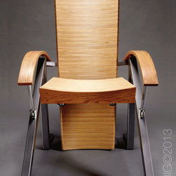 Highback Chair - Custom hardwood chair made from baltic birch, red oak, painted steel and nautical hardware.