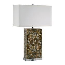 """Lamp Works - Contemporary Brown River Rock Acrylic Table Lamp - This transitional table lamp is naturally appealing with a rectangular design fused with organic textures and shapes. An off-white cotton shade tops a smooth base of genuine brown river rock encased in clear acrylic. A three-way switch provides simple lighting options. Brown river rock. Clear acrylic base. Off-white cotton shade. Takes one 100 watt bulb (not included). 3-way switch. 29"""" high. Shade is 18"""" wide 9"""" deep and 10 1/2"""" high. Base is 10"""" wide.  Brown river rock.   Clear acrylic base.   Off-white cotton shade.   Takes one 100 watt bulb (not included).   3-way switch.   29"""" high.   Shade is 18"""" wide 9"""" deep and 10 1/2"""" high.   Base is 10"""" wide."""