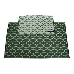 Sands Rug Co. - Homesuite Outdoor 5x8 Rug with Bonus 3x5 Runner Honeycomb Garden Green - These recycled indoor/outdoor rugs are trendy and durable to give your space an update without any extra hassle. These rugs are so light-weight it is easy to roll and go, and they feature velcro straps to keep them rolled up for easy travel. As a bonus, when you purchase this 5x8 rug, you will recieve a matching 3x5 rug!