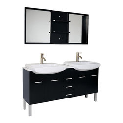 "Fresca - Fresca Vetta Espresso Double Sink Vanity w/ Mirror - Dimensions of vanity:  59.75""W x 19""D x 32.25""H. Dimensions of mirror:  59.75""W x 25.5""H x 5.25""D. Materials:  Solid Oak wood, ceramic sinks with overflow, marble countertop. Soft closing drawers and doors. Single hole faucet mounts. P-traps, faucets, pop-up drains and installation hardware included. The Vetta is a great double sink vanity with an espresso finish on Solid Oak wood that fits every desire.  Clean lines and slim details create a sleek modern urban creation that calmly brings a bathroom together.  Details such as chrome hardware and a white ceramic basin complete a streamlined look that brings a touch of class to any decor.  This vanity features soft closing hinges on side doors, self closing top quality mechanism on the pull-out shelves."