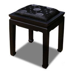 China Furniture and Arts - Elmwood Horse Shoe Bench W/Silk Cushion - A handsome Elmwood Ming dynasty bench upholstered with black silk fabric. Built by master craftsman with traditional joinery techniques. Hand-applied black ebony finish. (Assembled.)