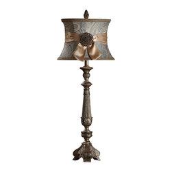 "Crestview - Crestview CVATP033 Layonne Buffet Lamp - Layonne Buffet Lamp Ornate Carved Resin Buffet Lamp in Verde Gold Finish (12.5 x 15.5 x 10"" Blue Paisley Shade w/Silk Sash & Metal Medallion) 3-way 100w max wattage bulb 37.5"" Ht."