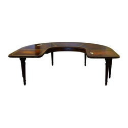 Chippendale Leather Top Half Moon Coffee Table - Add a little unique Chippendale styling to your living room with this half moon coffee table. The table is made of mahogany with two fold down leaves and a leather top