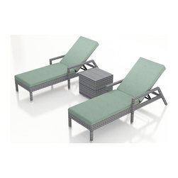 Forever Patio - Urbana 3 Piece Weathered Stone Chaise Lounge Set, Canvas Spa Cushions - The Harmonia Living Urbana 3 Piece Rattan Patio Chaise Lounge Set with Turquoise Sunbrella cushions (SKU HL-URBN-WS-3RCLS-SP) brings comfort and style to your outdoor space. Each chaise is constructed with durable, thick-gauged aluminum frames which are protected by a powder coating for superior corrosion resistance. The wicker is made of High-Density Polyethylene (HDPE) with its Weathered Stone color and UV resistance infused into the strands themselves. This creates a rich wicker color that holds up incredibly well with age.Thick, comfy cushions are covered in Canvas Spa fabric by Sunbrella, the industry leader in mildew- and fade-resistant outdoor fabric. This chaise adheres to the highest quality standards for modern patio furniture in the market today, meaning it will last for years to come.
