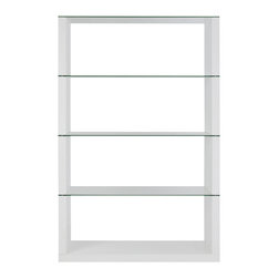 Eurostyle - Eurostyle Lennox 72 Inch Shelving Unit in White - Hats off to this designer.  It's not easy to bring truly fresh ideas to shelving. The side panels are your choice of walnut, wenge or white. The shelving, including the top, is clear tempered glass.  It's strong and light at the same time and a serious wow. What's included: Shelves (1), Shelf Panel (1).