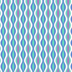 Murals Your Way - Curvy Stripes - Bright Blue Wall Art - Painted by Kate Ward Thacker, the Curvy Stripes - Bright Blue wall mural from Murals Your Way will add a distinctive touch to any room