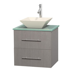 """Wyndham Collection - Centra 24"""" Grey Oak Single Vanity, Green Glass Top, Pyra Bone Porcelain Sink - Simplicity and elegance combine in the perfect lines of the Centra vanity by the Wyndham Collection. If cutting-edge contemporary design is your style then the Centra vanity is for you - modern, chic and built to last a lifetime. Available with green glass, pure white man-made stone, ivory marble or white carrera marble counters, with stunning vessel or undermount sink(s) and matching mirror(s). Featuring soft close door hinges, drawer glides, and meticulously finished with brushed chrome hardware. The attention to detail on this beautiful vanity is second to none."""