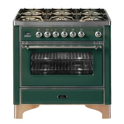 "Ilve - UM906VGGVSS Majestic Series 36"" Freestanding Gas Range with 6 Sealed Burners  3. - Majestic Collection 36 Range with 6 Burners 35 Cu Ft Capacity European Convection Oven Dual Triple Ring Burner Infrared Broiler Digital Clock  Timer 2 Heavy Duty Racks Removable Oven Door and Rotisserie System with Plate Warming Drawer  Brass Trim"
