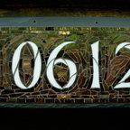 Nutmeg Designs - Mosaic House Numbers on Slate - Mosaic House Number on slate 5 Digit.  Stained glass, glass tile, gold smalti, ceramic tile, 16x8""