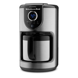 KitchenAid - 10 Cup Thermal Carafe Coffee Maker - Kitchen Aid's 10-Cup Thermal Carafe Coffee Maker, in Onyx Black features a removable water tank that is easily accessible and includes printed water level indicators that make it easy to fill. The combination of refined showerheads and a flat-bottom brew basket evenly saturates the coffee grounds for uniform extraction and maximum flavor. The 1 to 4 cup brew cycle automatically adjusts the brewing process to optimize the saturation time for maximum flavor when brewing quantities. And the coffee maker can be programmed to brew up to 24 hours in advance. Features: -10 Cup thermal carafe.-Removable water tank; refined brew process.-1-4 Cup brew cycle; 24-hour programmability.-Variable brew strength selector.-Clean alert; auto shut off.-Extra-large digital display and clock.-Thermal carafe with drip-less spout.-Flat-bottom brew basket.-Showerhead design.-Distressed: No.-Country of Manufacture: United States.Dimensions: -Dimensions: 14'' H x 8'' W x 11.5'' D.-Overall Product Weight: 7 lbs.Warranty: -Package contents: Coffee maker, charcoal filter, gold-toned filter, manual / warranty.