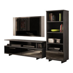 South Shore - South Shore Reflekt TV Stand in Gray Oak Finish - South Shore - TV Stands - 4337677 - Elegant design is a fundamental of the Reflekt TV stand. With its rich ultra-trendy Grey Oak finish and Black lacquer-finish drawers front this piece is designed to become part of any modern d��cor gracing your living room with all the class and contemporary allure youre looking for. The open storage spaces are also fully adapted to todays lifestyle providing you with all the space you need for your electronics and much more! And you can combine this TV stand with the Reflekt four-shelf bookcase to create various configurations based on your needs