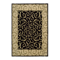 Nourison - Nourison Versailles Palace Oriental Srolls Black 8' x 11' Rug by RugLots - Fit for royalty, as the name suggests! This collection features stunningly elegant designs inspired by 18th Century French carpets and handmade with intriguing articulation from the highest quality wool. Features a dense, luxurious pile and hand-carved for added dimension with delicate accents that are a pleasure to both look at and touch.