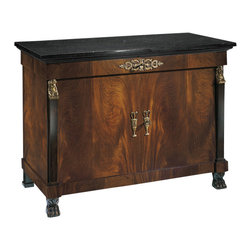 "Inviting Home - Empire Style Credenza - Empire style two door credenza with cherry veneer black Marquina marble top one drawer one shelf inside carved claw feet and antiqued brass hardware; 53""W x 25-1/4""D x 38""H hand-made in Italy Hand-crafted Empire style two door credenza. Empire credenza features cherry veneer black Marquina marble top and carved claw feet. This credenza has one drawer one shelf inside and antique brass hardware. This inlaid credenza is hand-made in Italy."