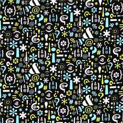 black fabric Writer's Block symbols Robert Kaufman -