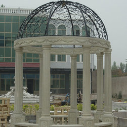 Stone Gazebos - Our gazebos can be made to fit into your landscape design.  Visit our website to view select styles.  Each gazebo is custom made to the measurements you provide. Further customize by adding or changing select design motifs or architectural elements.  Gazebos available with bronze pergolas or rotundas.  Available in many colors and stone species including marble, limestone, travertine and granite.  These are solid natural stone, NOT concrete, resin or precast.  Bronze tops can be either forged or investment cast depending upon the design.  Our gazebos are appropriate for any climate.