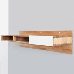 "Mash Studios - Mash Studios | LAXseries Wall Mounted Desk - Crafted from solid English walnut with a natural oil finish, the LAXseries Wall Mounted Desk attaches directly to the wall, making ordinary legs seem like pointless obtrusions. Convenient cubbies underneath with a sliding aluminum panel eliminate the need for drawers. ""Off the wall"" design — ideal for small spaces.With an organic and minimalist aesthetic, the LAXseries promotes calm and reductive living with pieces that incorporate subtly into spaces, without distracting or overwhelming. Understated, yet refined, with no extraneous parts or superfluous additions."