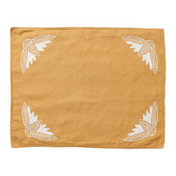 Cricket Radio - Alexandria Lotus Placemat, Set of 2, Mustard/White - It's time to turn the tables. This set of two pre-shrunk linen placemats features printed lotus flowers on front and simple stripes on back so you can add at least two new looks to your dining or breakfast table. And they come in several colors so you can mix or match to your heart's content.