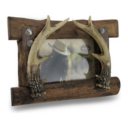 Zeckos - Rustic Sculptured Deer Antler 6 x 4 in. Photo Frame - This sculpted photo frame adds a touch of rustic style to your outdoorsy, western or hunting themed decor perfect for showing off your favorite photo. This highly detailed realistic looking hand-painted cast resin photo holder features a set of deer antlers attached to wood planks highlighted with western style conchos to hold your 6 x 4 inch photo. It looks great on tabletops, counters, shelves and bookcases in the home, and is a wonderful office desk accent measuring 10 inches long, 7 inches high and 4.5 inches deep (25 x 18 x 11 cm) with the easel fully extended. It makes an amazing housewarming, wedding or shower gift sure to be appreciated