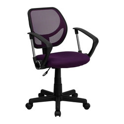 Flash Furniture - Computer Mesh Swivel Task Chair - 2 in. thick padded seat with mesh upholstery. Standard swivel chair mechanism. Pneumatic seat height adjustment. Black nylon base. Dual wheel casters. Warranty: 2 year limited. Assembly required. Back: 16 in. W x 16 in. H. Seat: 17.5 in. W x 16.25 in. D. Seat Height: 15.5 - 19.5 in.. Arm Height from Floor: 23.5 - 27.5 in.. Arm Height from Seat: 8.5 in.. Overall: 22.5 in. W x 21.5 in. D x 30.5 - 34.5 in. H (36 lbs.)