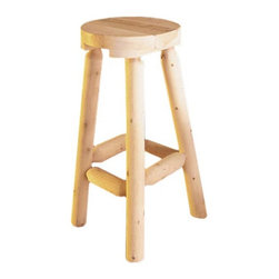 Rustic Natural Cedar - Rustic Natural Cedar Furniture Backless Counter Stool - Set of 2 - 51B - Shop for Stools from Hayneedle.com! The Rustic Backless Counter Stool features rugged natural beauty in a height that's perfect for counters and islands. Inspired by the architecture of mountain lodges to bring a casual comfortable element to your living space. The Northern White Cedar used to make this stool features knots and crevices characteristic of a rustic cabin. This cedar wood is quite aromatic and lends great character to this piece and naturally repels insects. Perfect for indoors or out. About Rustic Natural Cedar Furniture Co.For over 30 years Rustic Natural Cedar Furniture Company has been manufacturing quality cedar products for the home and garden. Their broad variety of products includes bedroom sets tables and seating groups gliders rockers swings arbors and other garden products. These fine furnishings are handcrafted with care in Quebec and British Columbia and shipped worldwide for your enjoyment.