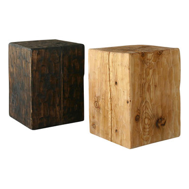 Pfeifer Studio - Solid Pine Cube Table - Our Solid Pine Cube Tables are made in the USA from timber harvested in the mountains of New Mexico. The textured finish on the surface is created by hand, using an adz tool to shape a pattern on the wood. Our tables are in stock and finished-to-order.