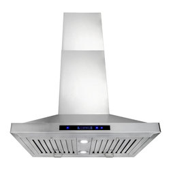 "AKDY - AKDY AG-Z9002 Euro Stainless Steel Island Mount Range Hood, 30"", Duct/Pipe - This AG-Z9002 30"" island range hood removes cooking odors from your kitchen quickly using its 3-speed, 870 CFM centrifugal exhaust fan. The baffle filter helps eliminate grease from the air and is washable for easy cleanup. Model available in 30"", 36"", and 48"", optional recirculating kits are available as well."