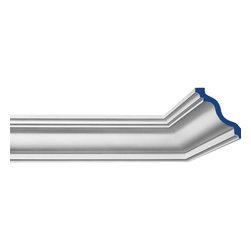"""Inviting Home - California Crown Molding - California crown molding 4-1/8""""H x 4-15/16""""P x 6-7/16""""F x 7'10""""L 4 piece minimum order required crown molding specifications: - outstanding quality crown molding made from high density polyurethane - front surface of this molding has extra durable and smooth surface - crown molding is pre-primed with water-based white paint - lightweight durable and easy to install using common woodworking tools - metal dies were used for consistent quality and perfect part to part match for hassle free installation - this crown molding has sharp deep and highly defined design - crown molding can be finished with any quality paints Polyurethane is a high density material--it��s extremely lightweight and easy to install (and comes primed and ready to paint). It is a green material meaning it��s CFC and formaldehyde free. It is also moisture resistant--so it won��t shrink flex or mold. What��s also great about Polyurethane is that it��s completely customizable and can be treated as wood (you can saw it nail it screw it and sand it). In addition our polyurethane material come primed and ready to paint"""