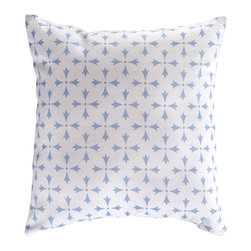Nine Space - Rhodes Pillow Cover, Frost Blue - The filigree pattern on this pillow cover was designed based after the domes and windmills found along the island of Rhodes, Greece. Available in a pleasing palette of neutrals, the motif is subtle enough to mix and match seamlessly with different colors and designs. Toss a few on your daybed, chaise, sofa or lounge chair.