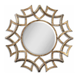 Uttermost - Modern and Classic Uttermost Demarco Round Antique Gold Mirror Home Decor - Modern and classic inspired uttermost Demarco round antique gold mirror living dining and family room home accent decor