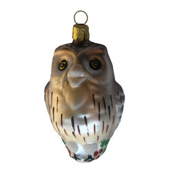 Owl Glass Christmas Ornament - Our hand-blown glass Owl Christmas ornament is beautifully hand-decorated with glitter and paint.