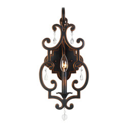 Kalco Lighting - Kalco Lighting 2631AC Montgomery 1 Light Wall Sconces in Antique Copper - The Montgomery Collection was inspired by Basque Gothic Cathedrals. This unique fusion of Spanish, French and Muslim design styles have been modernized with hand-forged iron in Kalco�s exclusive finishes and accented with crystal drop details for just a touch more twinkle to create pieces that are incredibly chic.