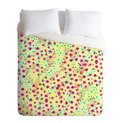 DENY Designs - Joy Laforme Wind Swept Floral Lime Duvet Cover - Turn your basic, boring down comforter into the super stylish focal point of your bedroom. Our Luxe Duvet is made from a heavy-weight luxurious woven polyester with a 50% cotton/50% polyester cream bottom. It also includes a hidden zipper with interior corner ties to secure your comforter. it's comfy, fade-resistant, and custom printed for each and every customer.