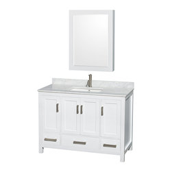 "Wyndham Collection - Sheffield 48"" White Vanity w/ White Carrera Marble Top & Undermount Square Sink - Distinctive styling and elegant lines come together to form a complete range of modern classics in the Sheffield Bathroom Vanity collection. Inspired by well established American standards and crafted without compromise, these vanities are designed to complement any decor, from traditional to minimalist modern. Available in multiple sizes and finishes."