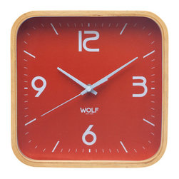 """WOLF - 12"""" Square Wall Clock, Orange - Simplicity and minimalism characterize this square framed, medium-size wooden wall clock. This stark, contemporary design features a 12"""" white dial contrasted with black hands and sans-serif numberingperfect for viewing from across the room."""