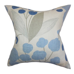 """The Pillow Collection - Geneen Floral Pillow Blue 18"""" x 18"""" - This floral throw pillow offers a lovely and romantic twist to your home. Crafted from fine 100% linen fabric, this toss pillow features a combination of hues, including blue, gray and white. Make your seat, sofa or bed extra comfy and plush by propping a few pieces of this 18"""" pillow."""