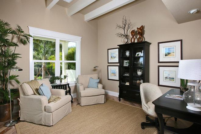 Tropical Home Office by Romanza Interior Design