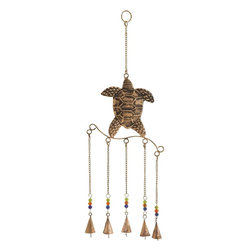 Benzara - Turtle Wind Chime with Exquisite Design in Copper Finished - A perfect decor for your kid's room, this metal turtle wind chime lights up your child's face with its color and melody. Full of bright colored beads and animated life, this metal turtle wind chime will quickly captures the imagination or all your garden visitors. This exquisite design features metal construction with five hanging bells which when gently moves with breeze produces musical chimes that sound very enchanting. With its striking appeal, this piece will easily act as a conversation starter. This copper finished metal turtle wind chime will make a wonderful gift for your friends and relatives during special occasions.