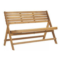 LUCA FOLDING BENCH - Made of acacia wood and galvanized steel, the Parker Folding Bench is the perfect place for enjoying a night under the stars. Use it as additional seating at your next BBQ and we guarantee your guests will all be clamoring for a seat.